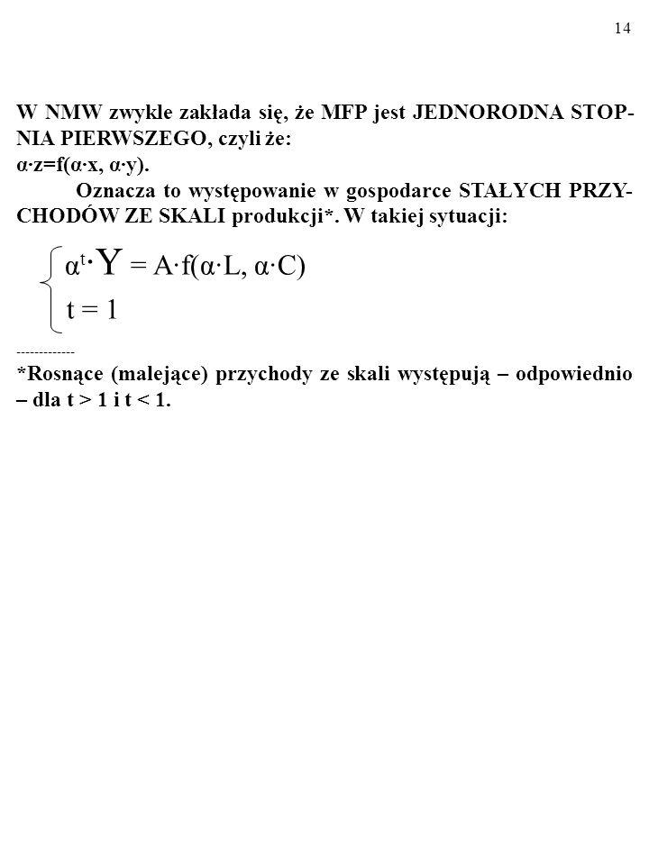 W NMW zwykle zakłada się, że MFP jest JEDNORODNA STOP-NIA PIERWSZEGO, czyli że: