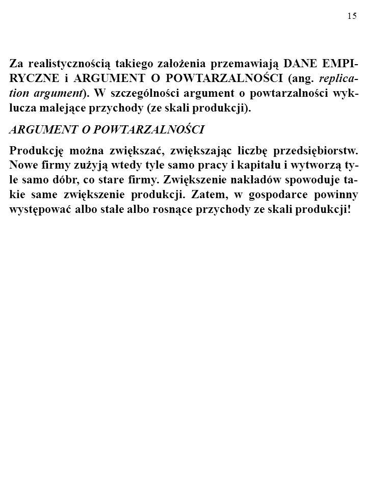 Za realistycznością takiego założenia przemawiają DANE EMPI-RYCZNE i ARGUMENT O POWTARZALNOŚCI (ang. replica-tion argument). W szczególności argument o powtarzalności wyk-lucza malejące przychody (ze skali produkcji).