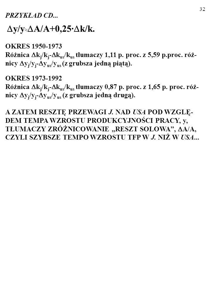 y/y≈A/A+0,25·k/k. PRZYKŁAD CD... OKRES 1950-1973