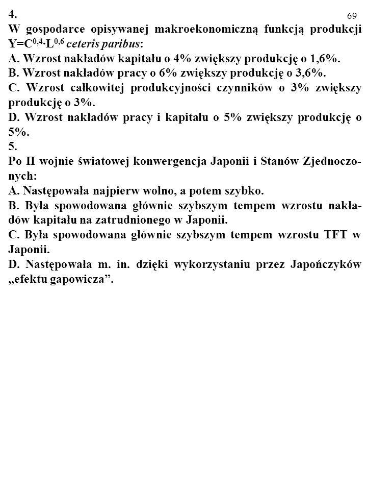 4.W gospodarce opisywanej makroekonomiczną funkcją produkcji Y=C0,4·L0,6 ceteris paribus: