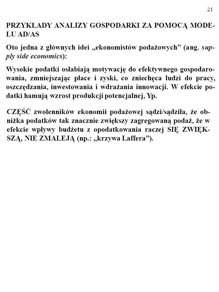 PRZYKŁADY ANALIZY GOSPODARKI ZA POMOCĄ MODE-LU AD/AS