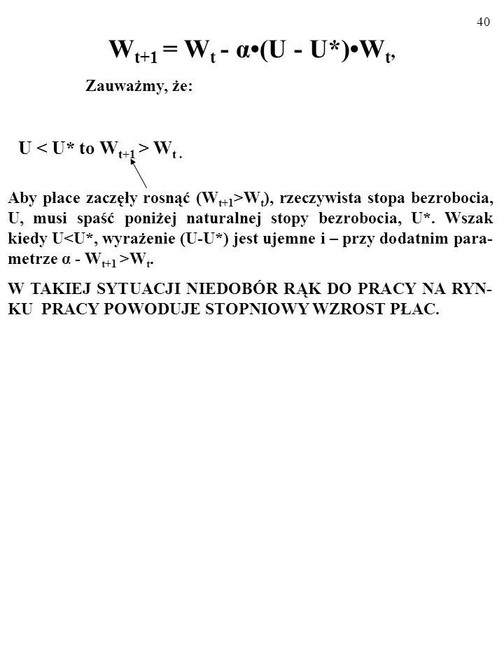 Wt+1 = Wt - α•(U - U*)•Wt, U < U* to Wt+1 > Wt . Zauważmy, że: