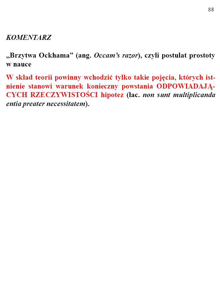 """KOMENTARZ """"Brzytwa Ockhama (ang. Occam's razor), czyli postulat prostoty w nauce."""