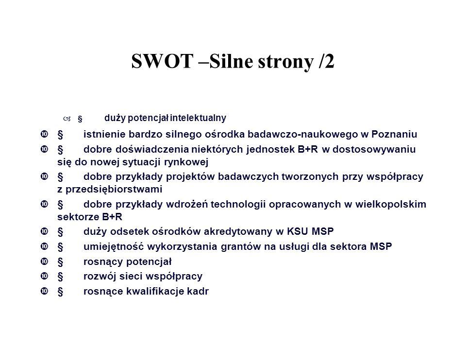 SWOT –Silne strony /2 § duży potencjał intelektualny. § istnienie bardzo silnego ośrodka badawczo-naukowego w Poznaniu.