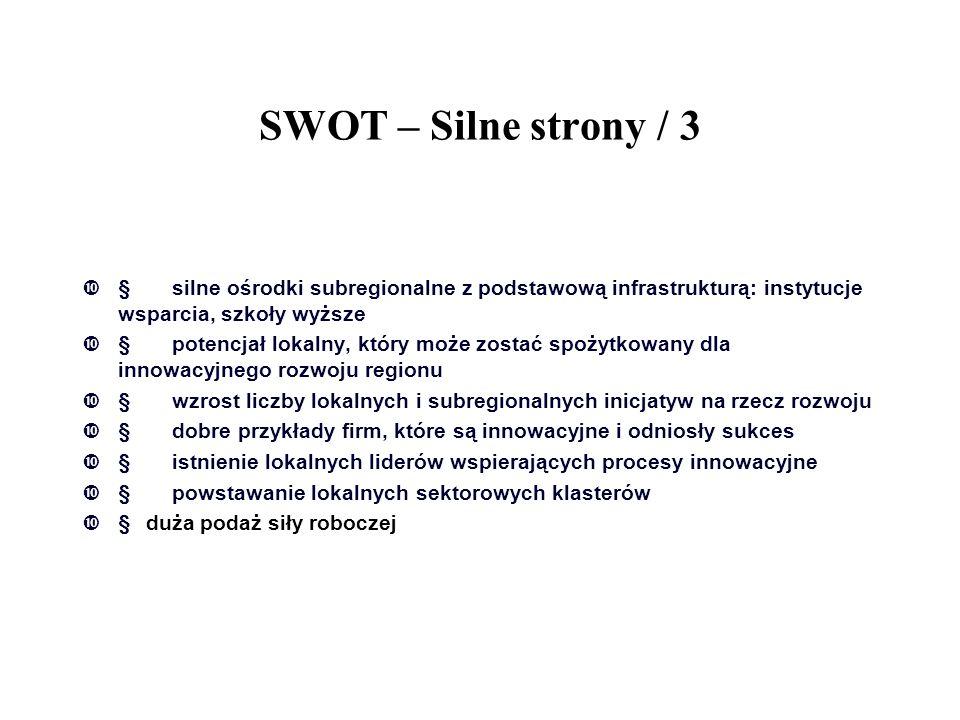 SWOT – Silne strony / 3 § silne ośrodki subregionalne z podstawową infrastrukturą: instytucje wsparcia, szkoły wyższe.