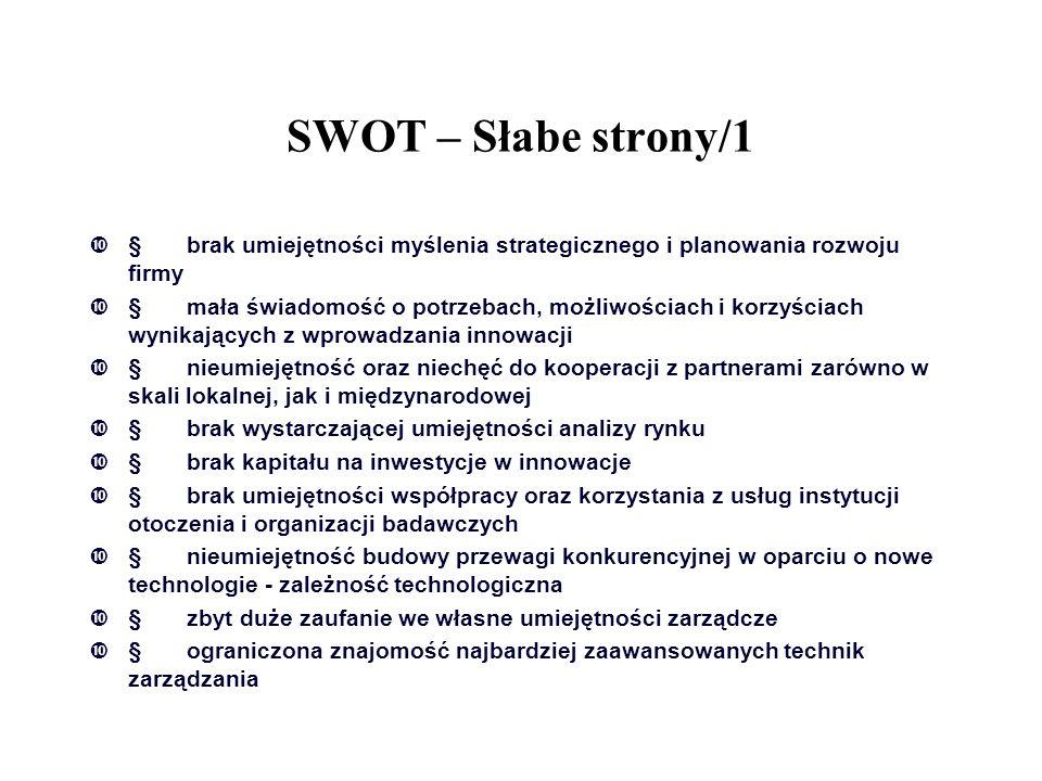 SWOT – Słabe strony/1 § brak umiejętności myślenia strategicznego i planowania rozwoju firmy.