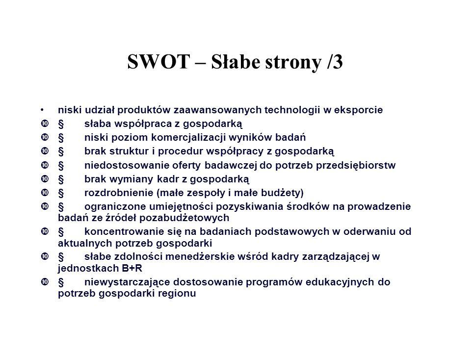 SWOT – Słabe strony /3 niski udział produktów zaawansowanych technologii w eksporcie. § słaba współpraca z gospodarką.