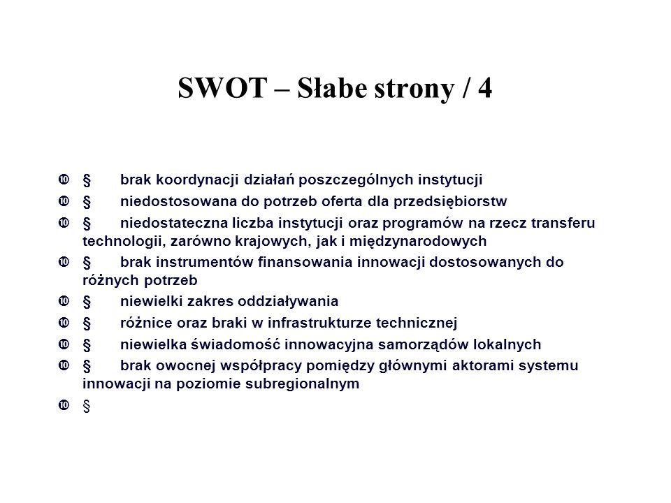 SWOT – Słabe strony / 4 § brak koordynacji działań poszczególnych instytucji. § niedostosowana do potrzeb oferta dla przedsiębiorstw.