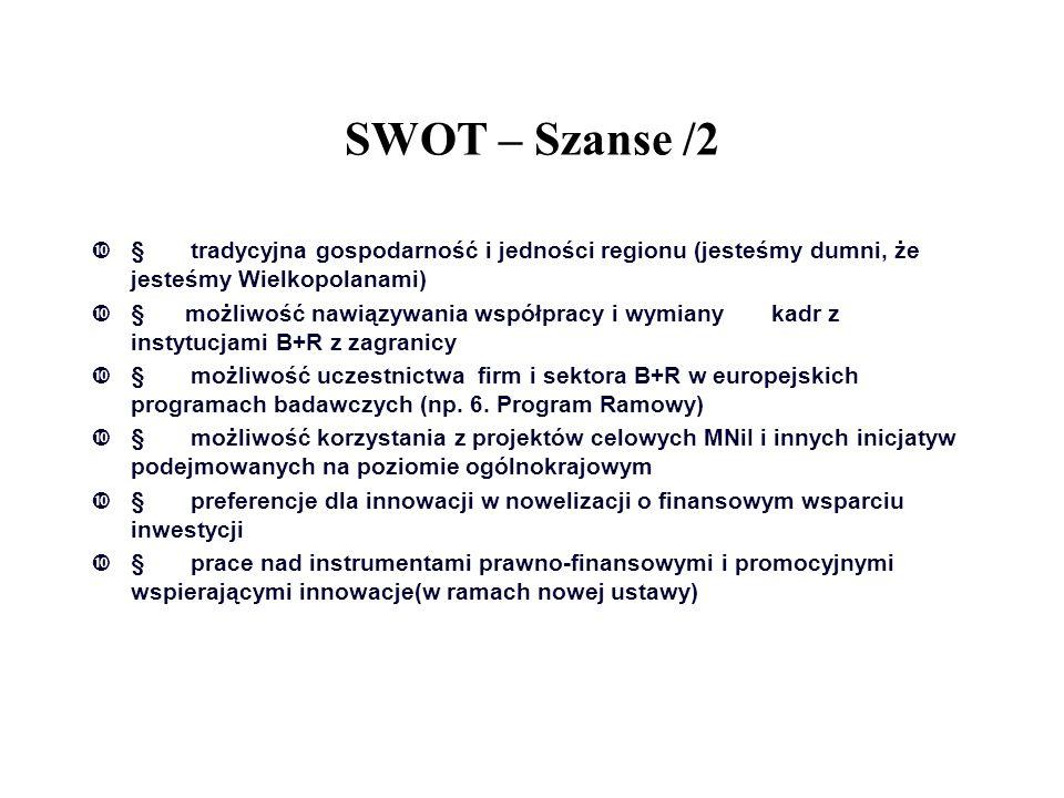 SWOT – Szanse /2 § tradycyjna gospodarność i jedności regionu (jesteśmy dumni, że jesteśmy Wielkopolanami)