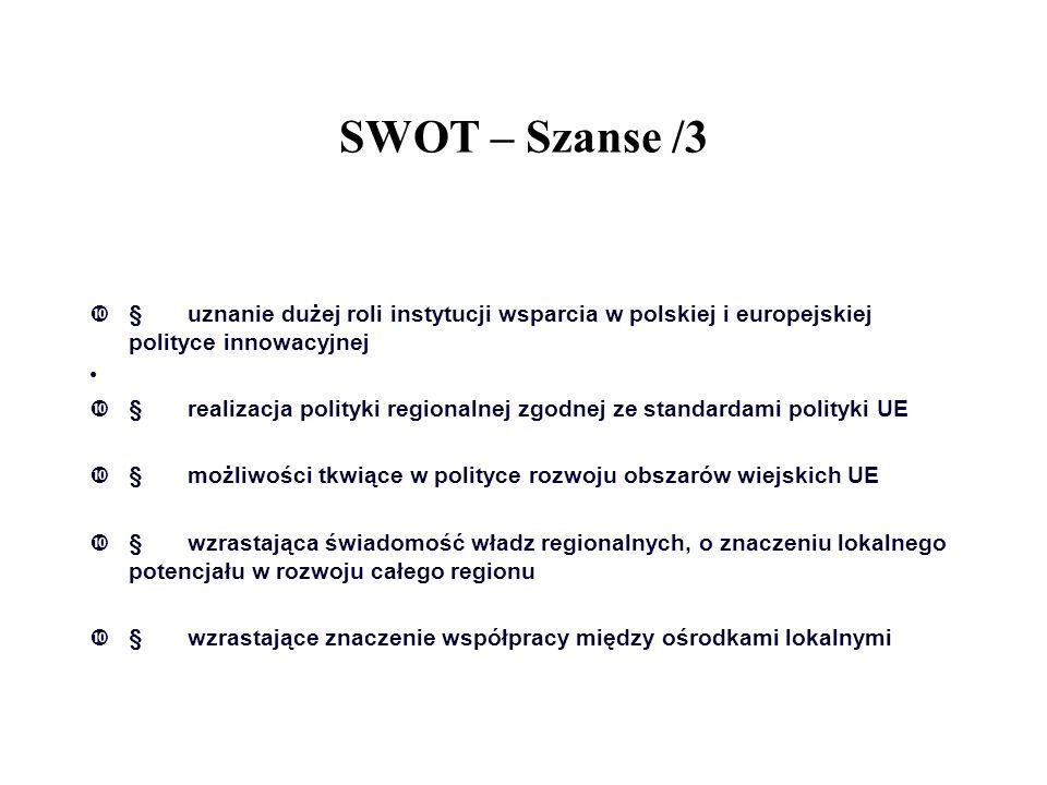 SWOT – Szanse /3 § uznanie dużej roli instytucji wsparcia w polskiej i europejskiej polityce innowacyjnej.