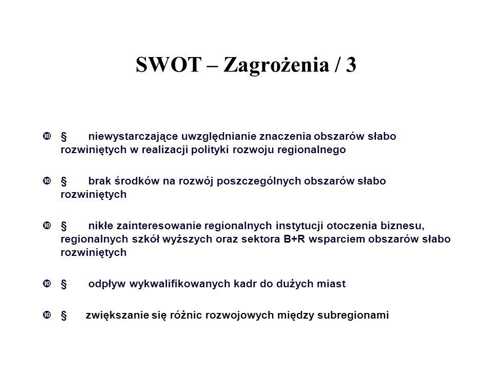 SWOT – Zagrożenia / 3 § niewystarczające uwzględnianie znaczenia obszarów słabo rozwiniętych w realizacji polityki rozwoju regionalnego.