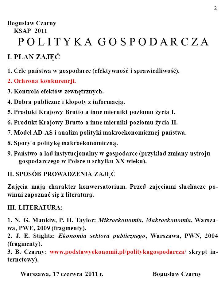 P O L I T Y K A G O S P O D A R C Z A I. PLAN ZAJĘĆ Bogusław Czarny