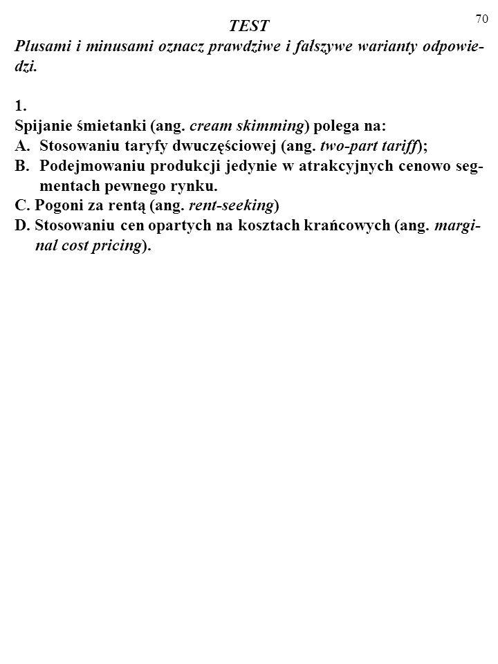 TESTPlusami i minusami oznacz prawdziwe i fałszywe warianty odpowie-dzi. 1. Spijanie śmietanki (ang. cream skimming) polega na: