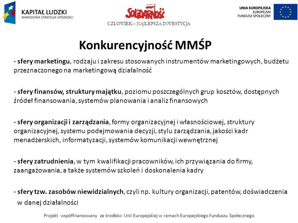 Konkurencyjność MMŚP sfery marketingu, rodzaju i zakresu stosowanych instrumentów marketingowych, budżetu przeznaczonego na marketingową działalność.