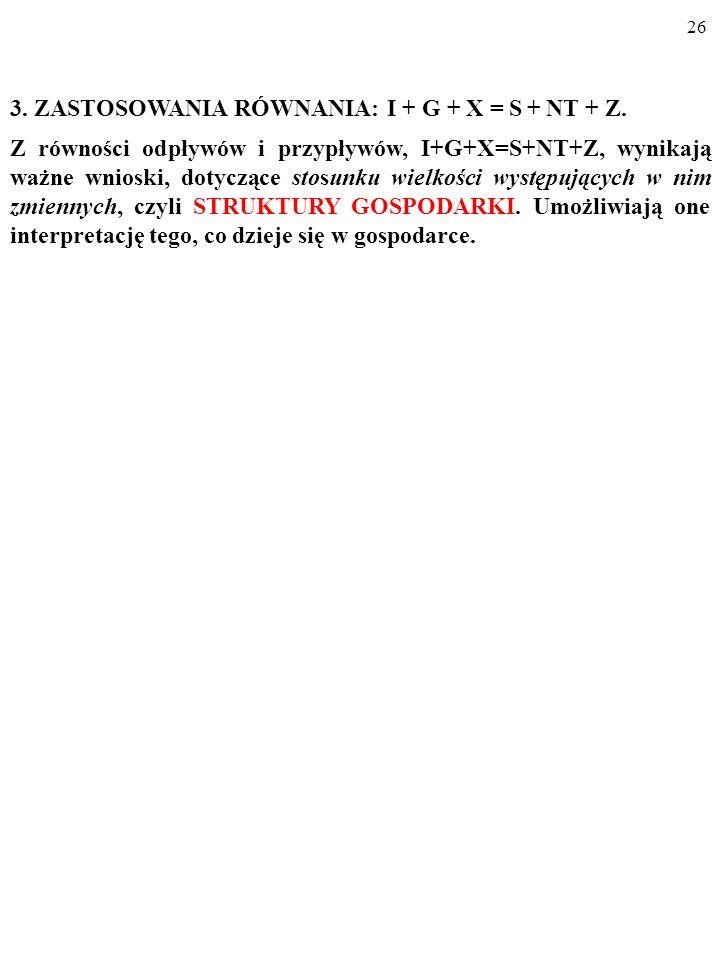 3. ZASTOSOWANIA RÓWNANIA: I + G + X = S + NT + Z.