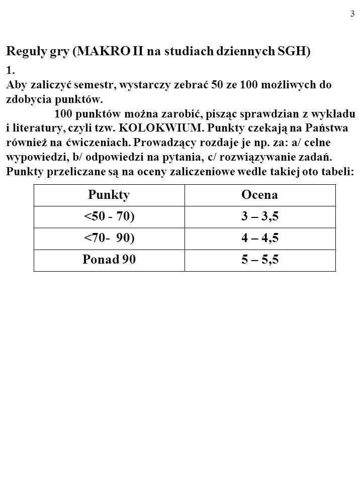 Reguły gry (MAKRO II na studiach dziennych SGH) 1