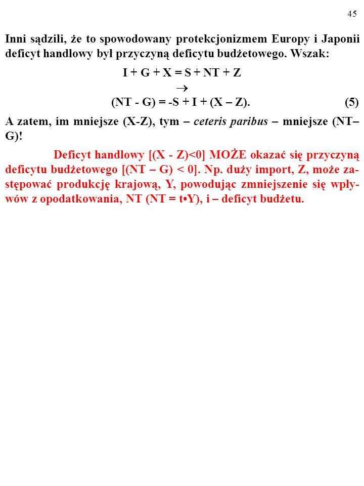 I + G + X = S + NT + Z  (NT - G) = -S + I + (X – Z). (5)