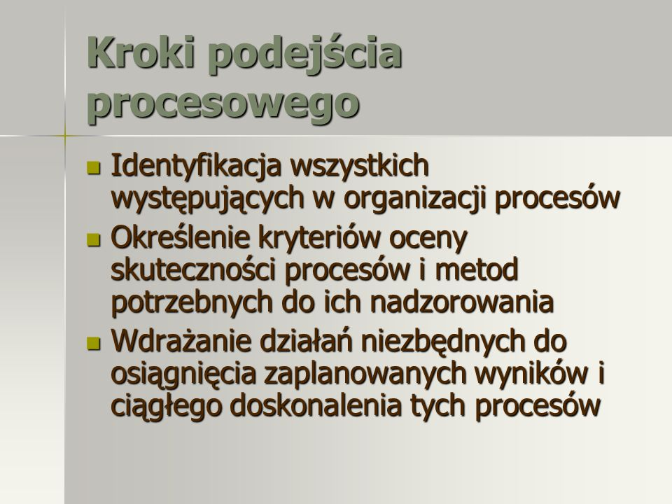 Kroki podejścia procesowego