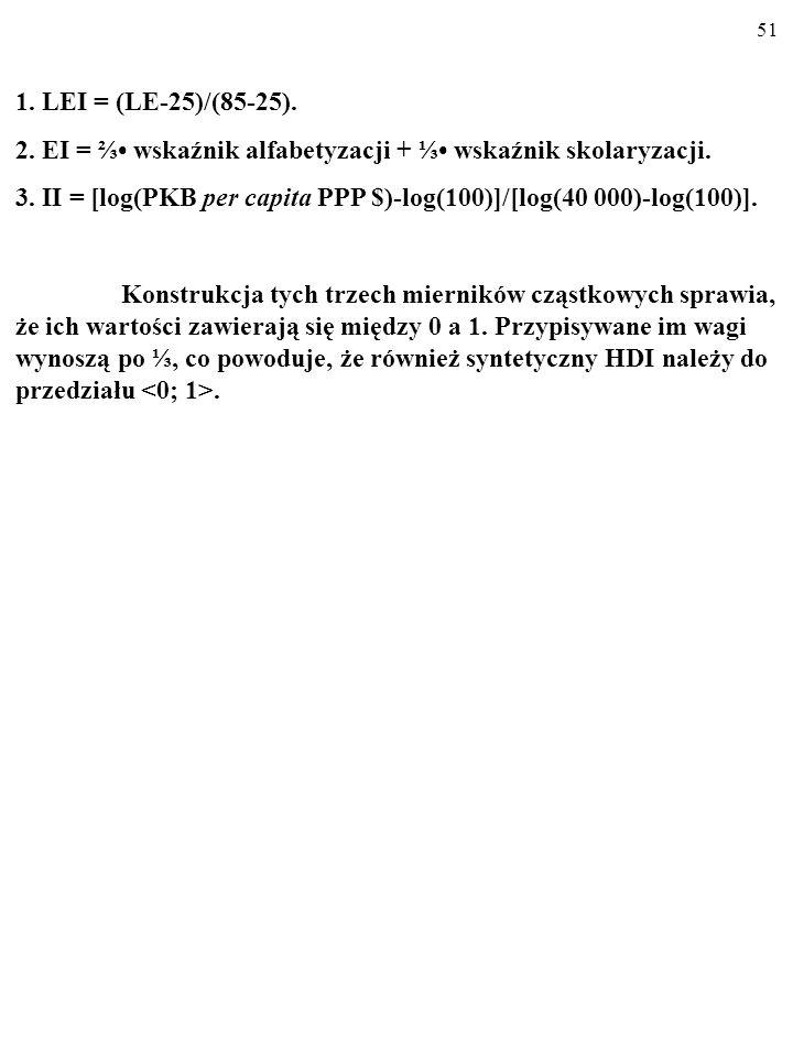 1. LEI = (LE-25)/(85-25). 2. EI = ⅔• wskaźnik alfabetyzacji + ⅓• wskaźnik skolaryzacji.
