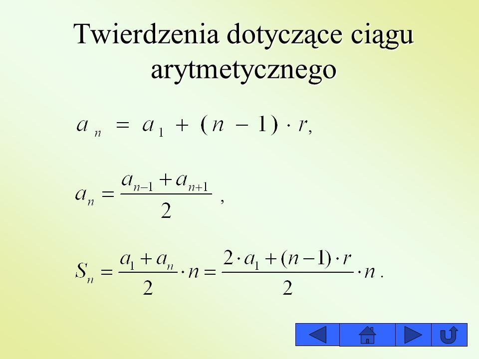 Twierdzenia dotyczące ciągu arytmetycznego