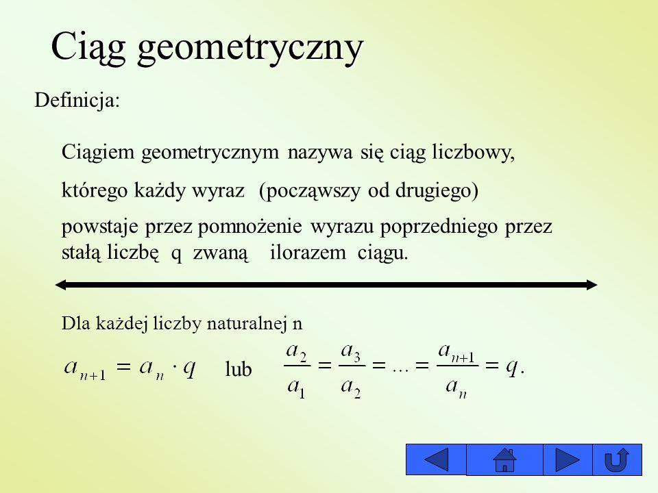 Ciąg geometryczny Definicja: