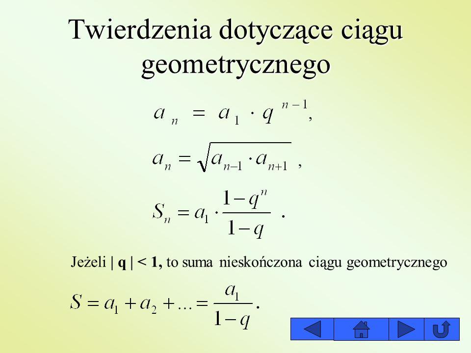 Twierdzenia dotyczące ciągu geometrycznego