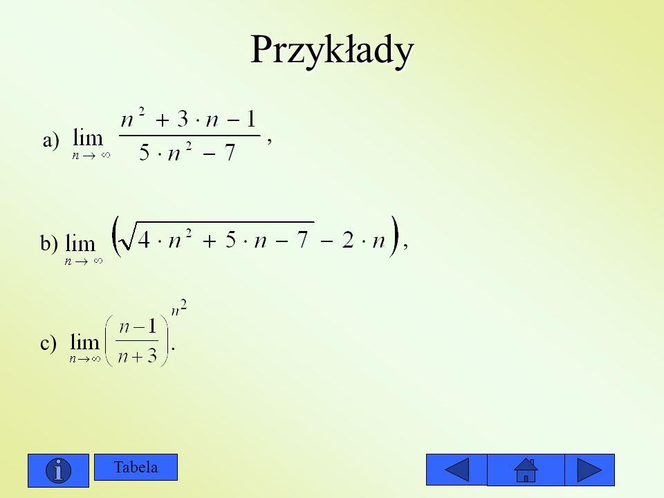 Przykłady , a) b) , c) . Tabela