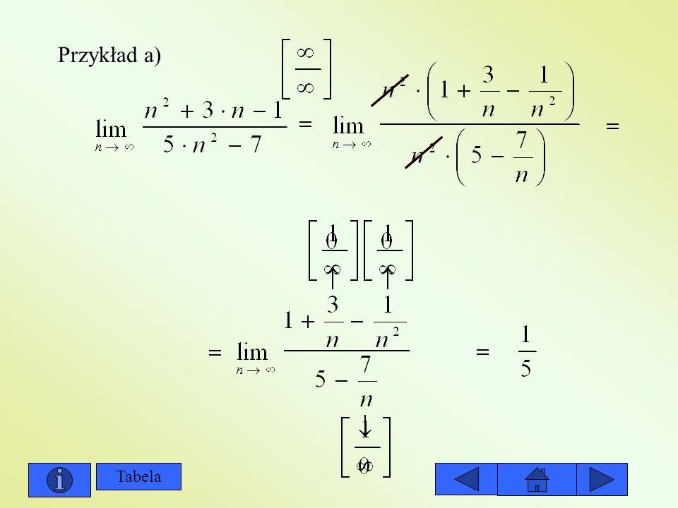 Przykład a) Tabela