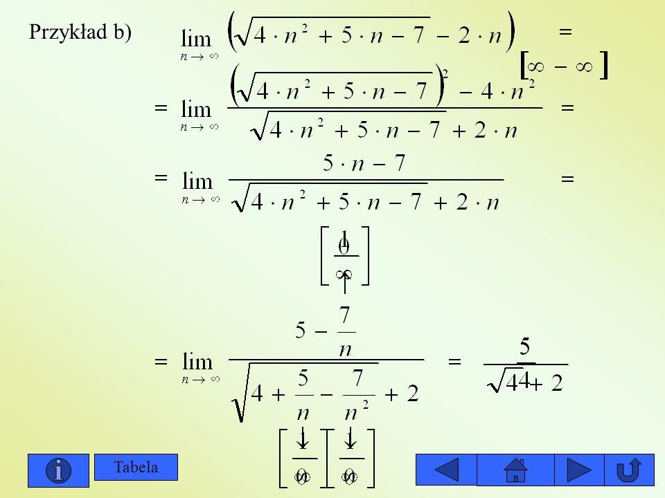 Przykład b) Tabela