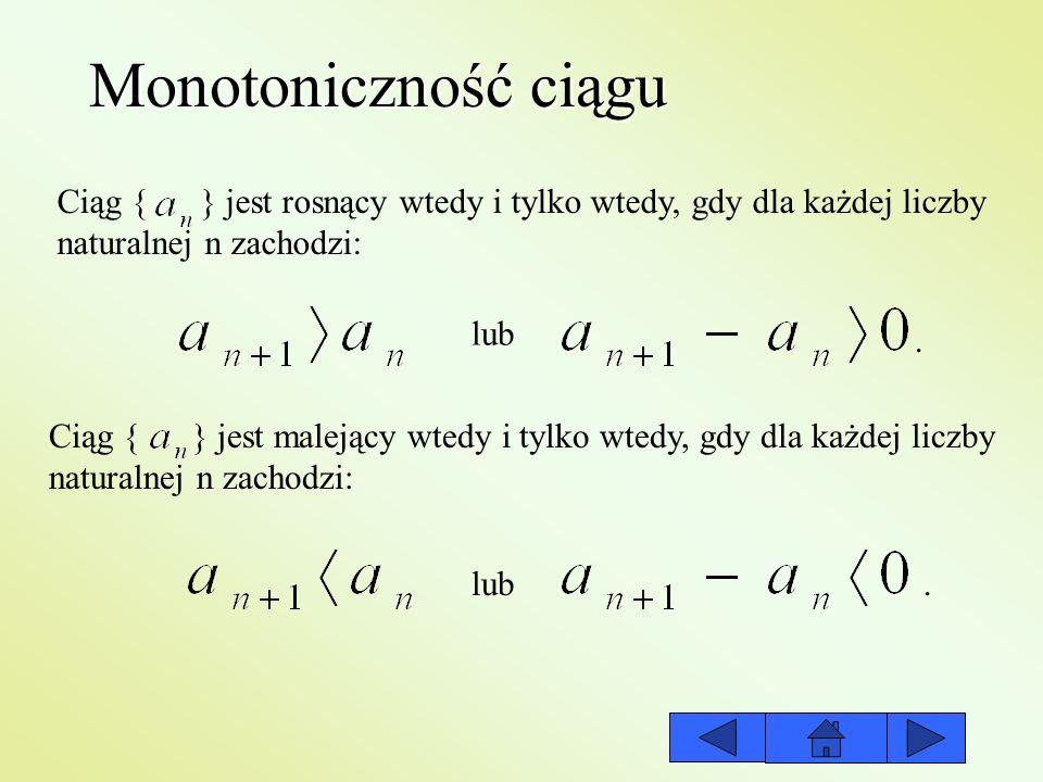 Monotoniczność ciągu Ciąg { } jest rosnący wtedy i tylko wtedy, gdy dla każdej liczby. naturalnej n zachodzi:
