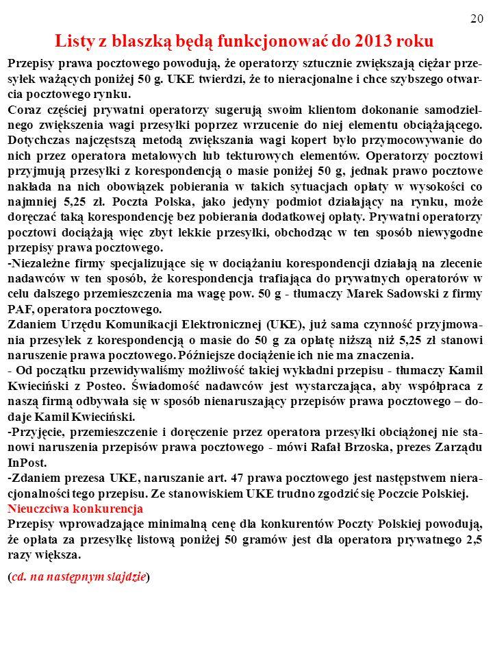 Listy z blaszką będą funkcjonować do 2013 roku