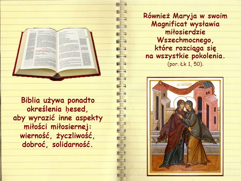 Również Maryja w swoim Magnificat wysławia miłosierdzie Wszechmocnego, które rozciąga się na wszystkie pokolenia.