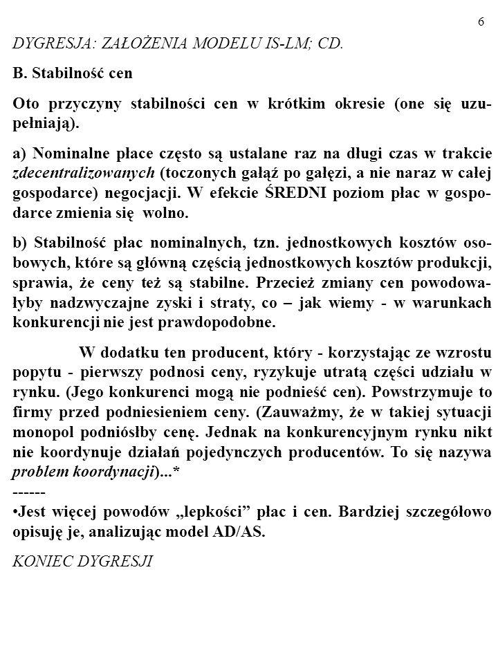 DYGRESJA: ZAŁOŻENIA MODELU IS-LM; CD.