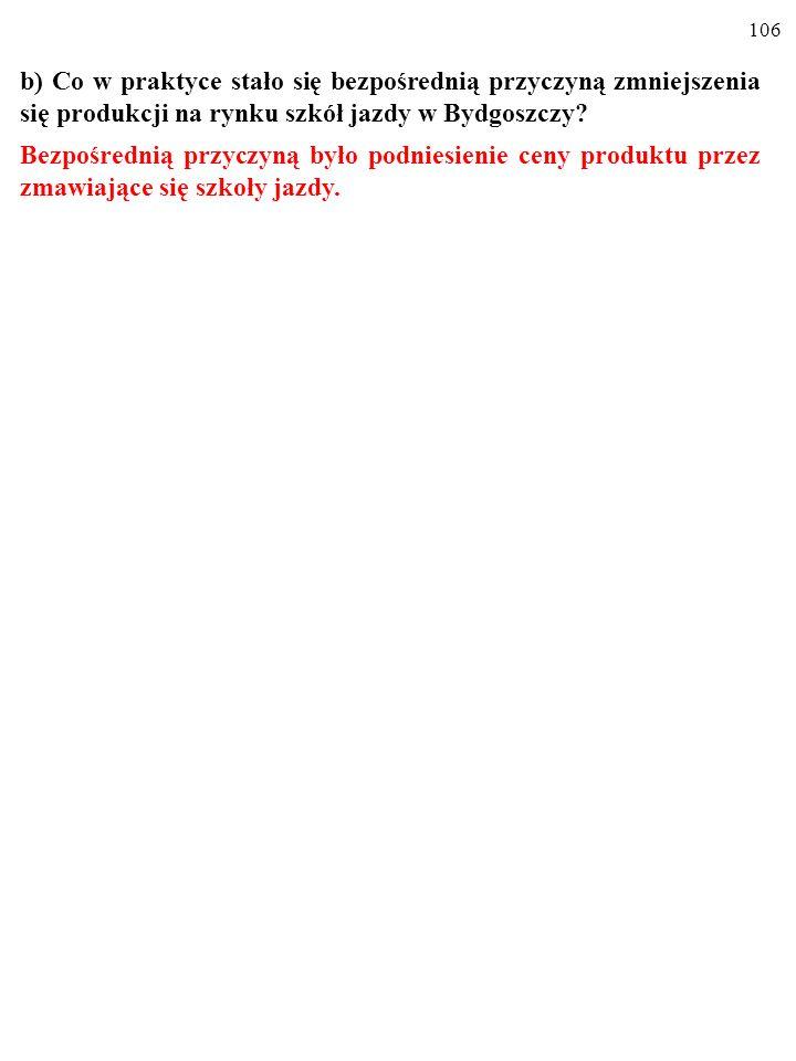 b) Co w praktyce stało się bezpośrednią przyczyną zmniejszenia się produkcji na rynku szkół jazdy w Bydgoszczy