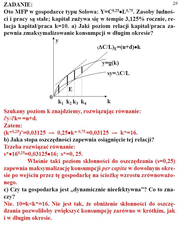 Szukany poziom k znajdziemy, rozwiązując równanie: ∂y/∂k= =n+d. Zatem: