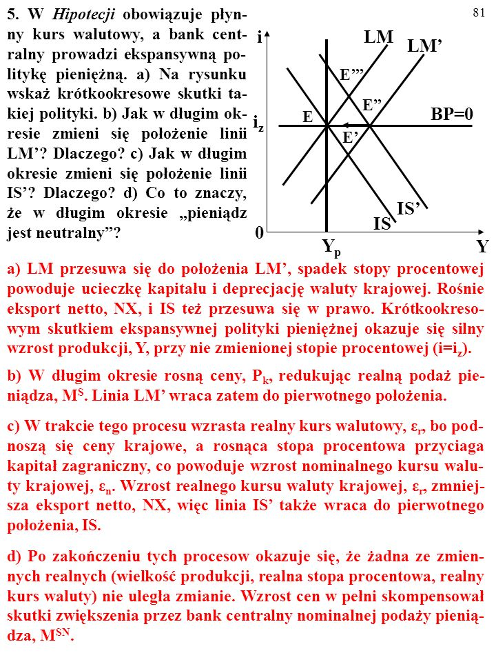 """5. W Hipotecji obowiązuje płyn-ny kurs walutowy, a bank cent-ralny prowadzi ekspansywną po-litykę pieniężną. a) Na rysunku wskaż krótkookresowe skutki ta-kiej polityki. b) Jak w długim ok-resie zmieni się położenie linii LM' Dlaczego c) Jak w długim okresie zmieni się położenie linii IS' Dlaczego d) Co to znaczy, że w długim okresie """"pieniądz jest neutralny"""