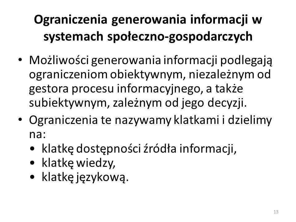 Ograniczenia generowania informacji w systemach społeczno-gospodarczych