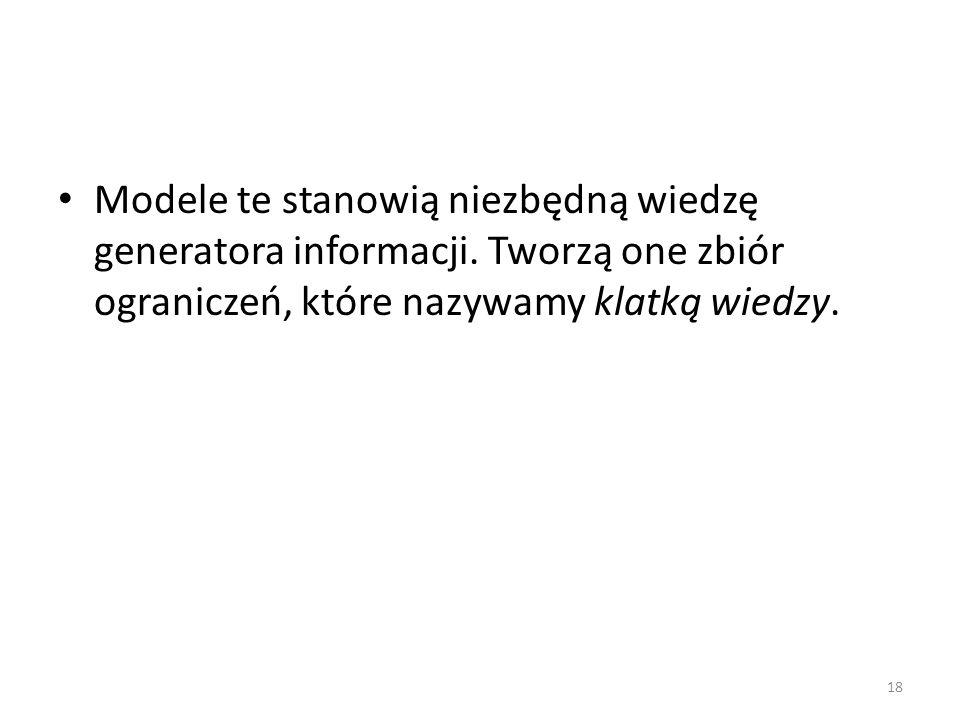 Modele te stanowią niezbędną wiedzę generatora informacji