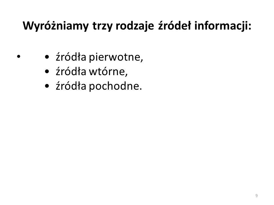 Wyróżniamy trzy rodzaje źródeł informacji:
