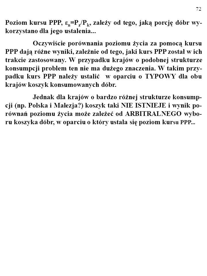 Poziom kursu PPP, εn=Pz/Pk, zależy od tego, jaką porcję dóbr wy-korzystano dla jego ustalenia...