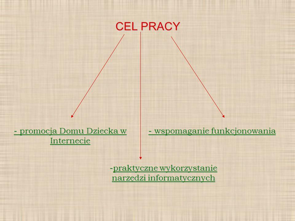 CEL PRACY - promocja Domu Dziecka w Internecie