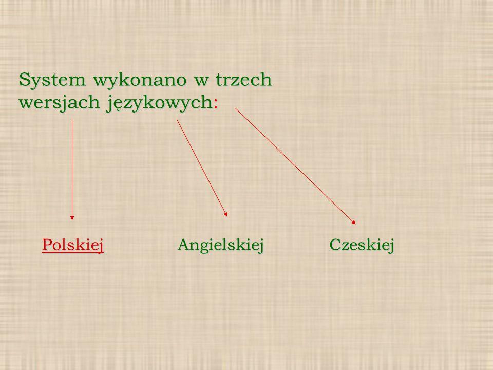 System wykonano w trzech wersjach językowych:
