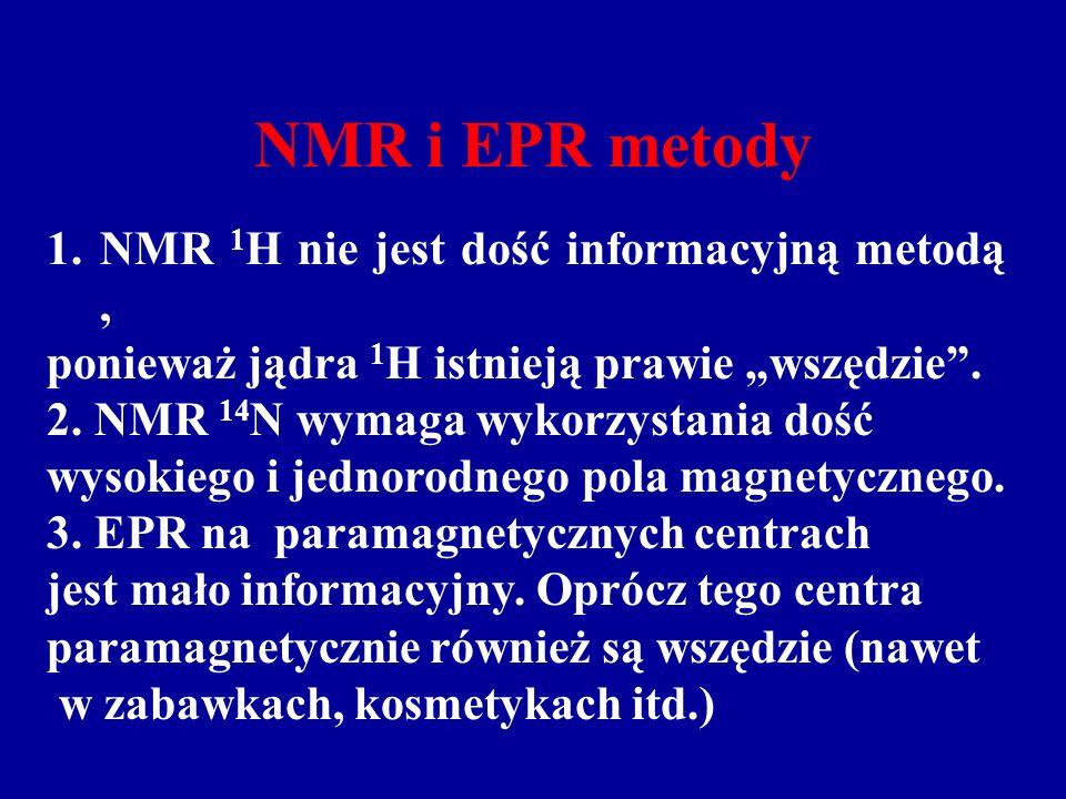 NMR i EPR metody NMR 1H nie jest dość informacyjną metodą ,