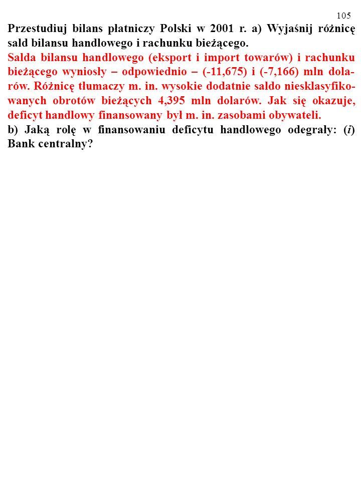 Przestudiuj bilans płatniczy Polski w 2001 r