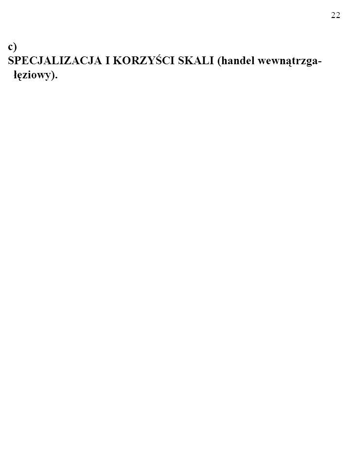 c) SPECJALIZACJA I KORZYŚCI SKALI (handel wewnątrzga- łęziowy).
