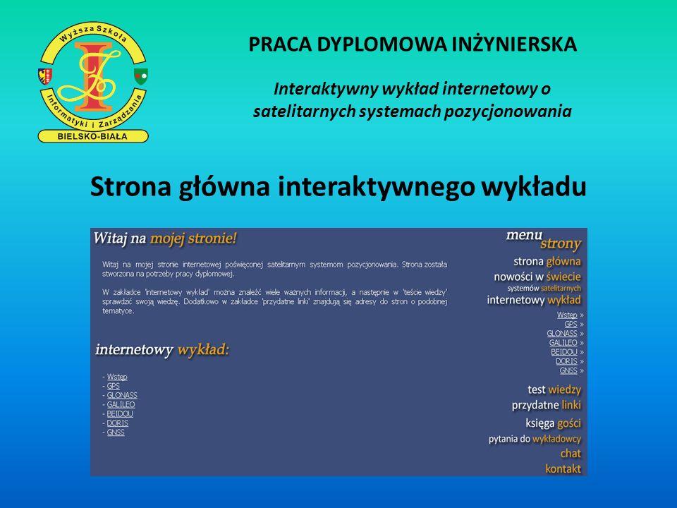 PRACA DYPLOMOWA INŻYNIERSKA Strona główna interaktywnego wykładu