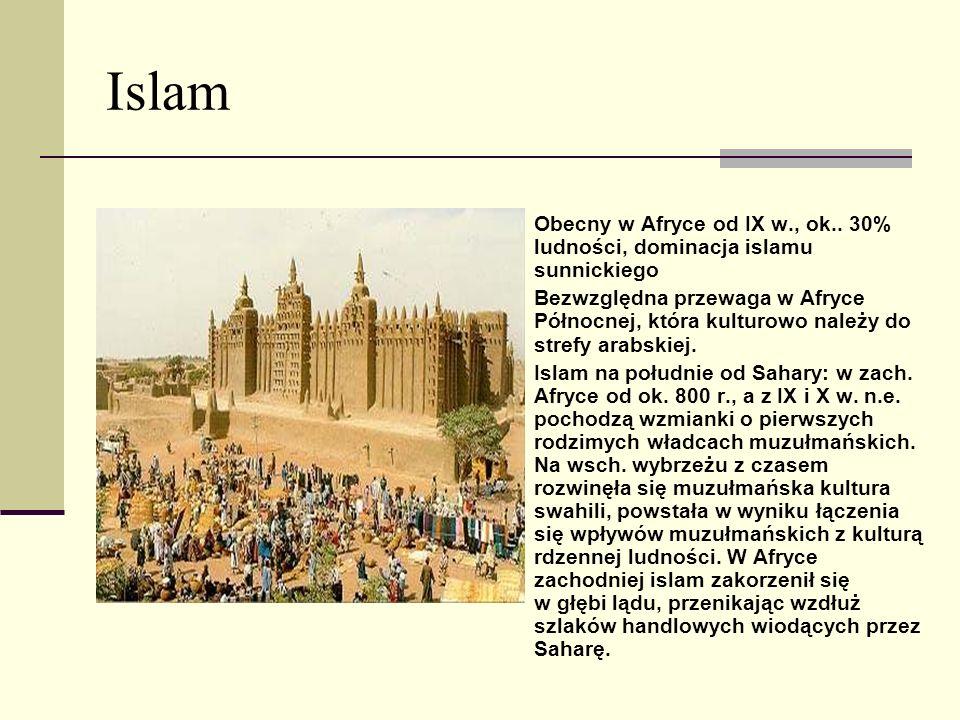 Islam Obecny w Afryce od IX w., ok.. 30% ludności, dominacja islamu sunnickiego.