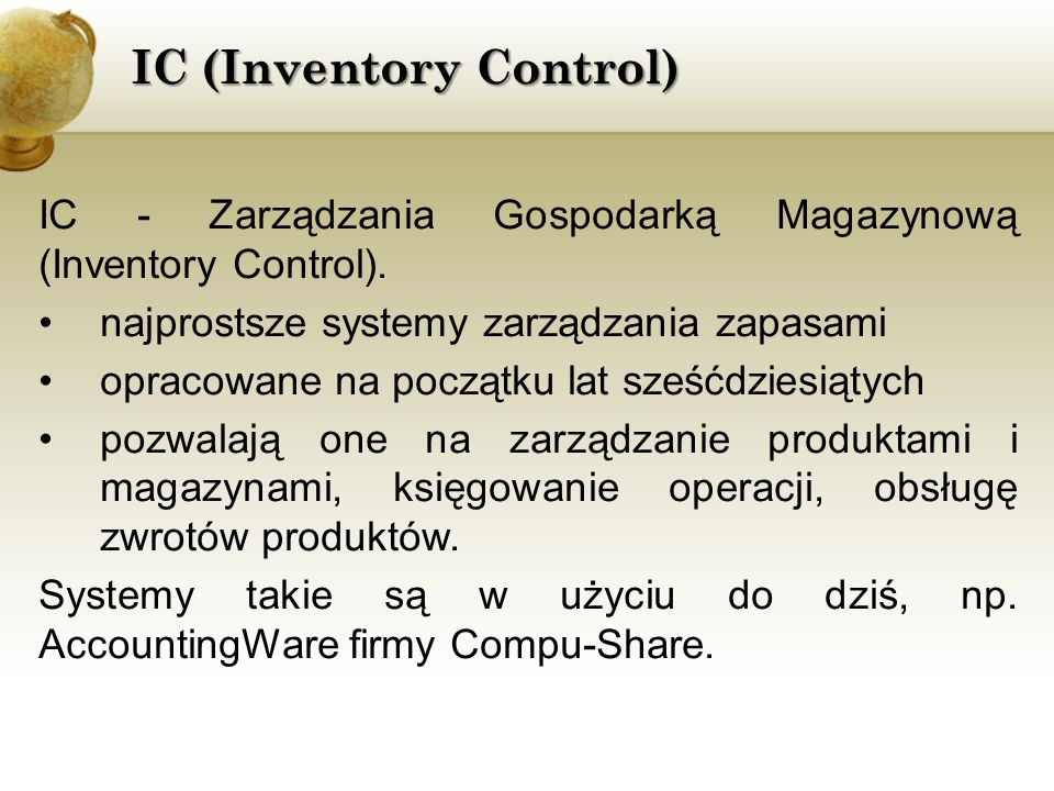IC (Inventory Control)
