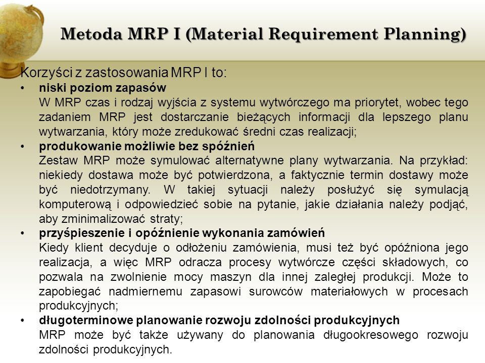 Metoda MRP I (Material Requirement Planning)