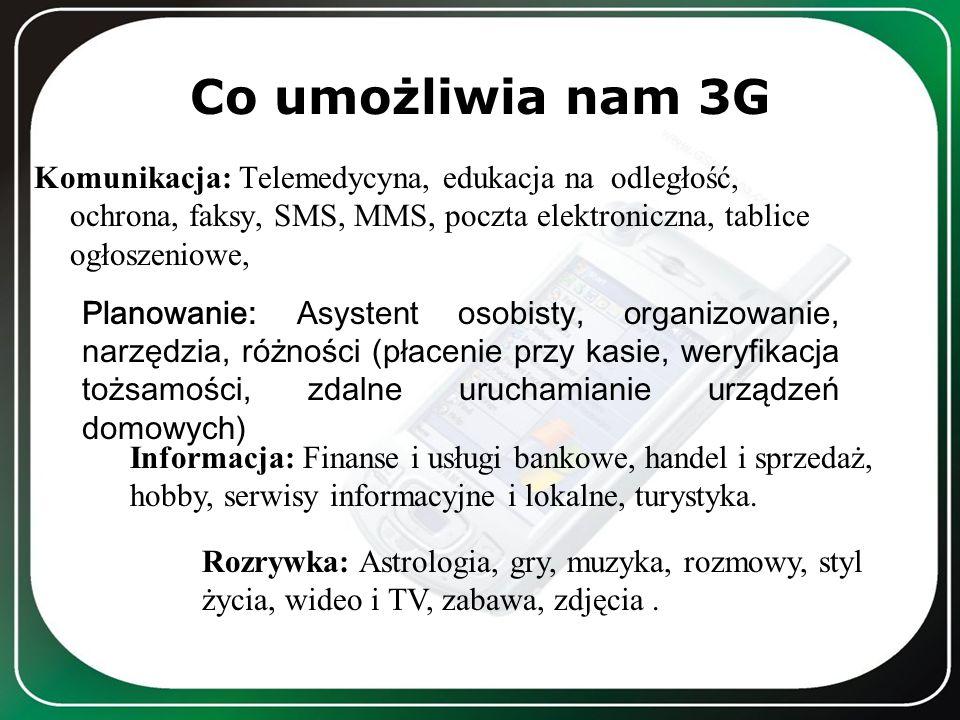 Co umożliwia nam 3G Komunikacja: Telemedycyna, edukacja na odległość, ochrona, faksy, SMS, MMS, poczta elektroniczna, tablice ogłoszeniowe,